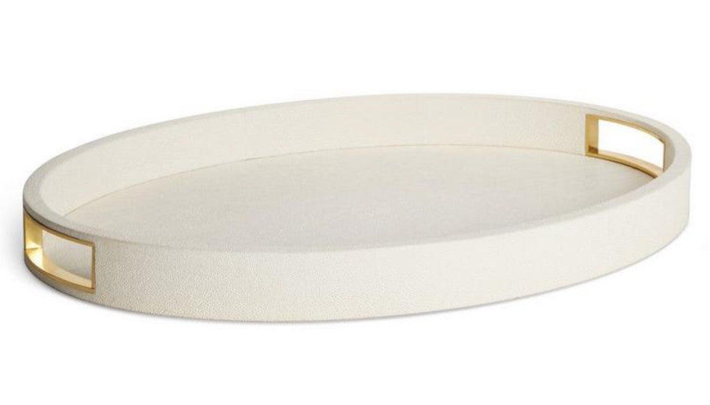 AERIN Modern Cream Shagreen Cocktail Tray