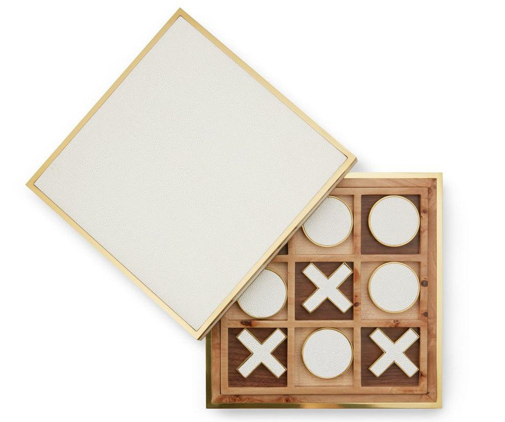 AERIN Cream Shagreen Tic-Tac-Toe Set