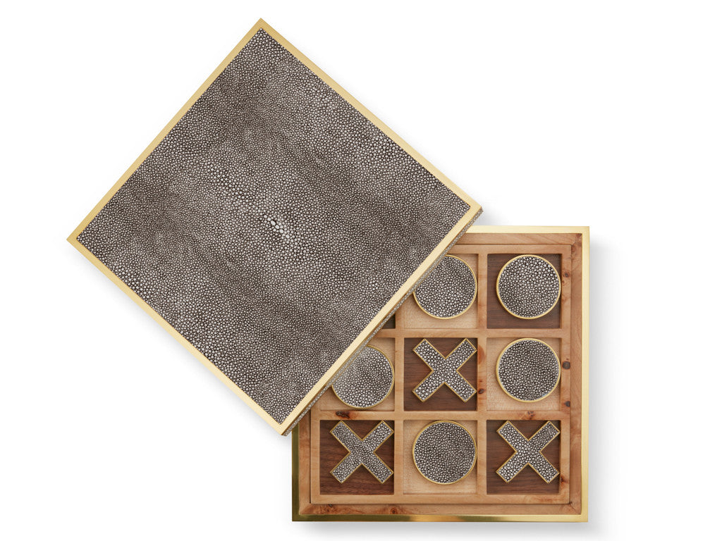 AERIN Chocolate Shagreen Tic-Tac-Toe Set