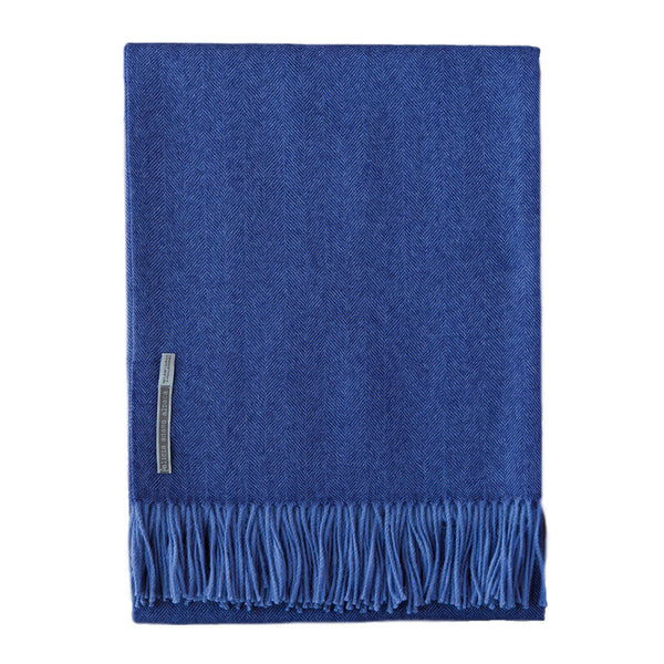 Indigo Baby Alpaca Herringbone Throw