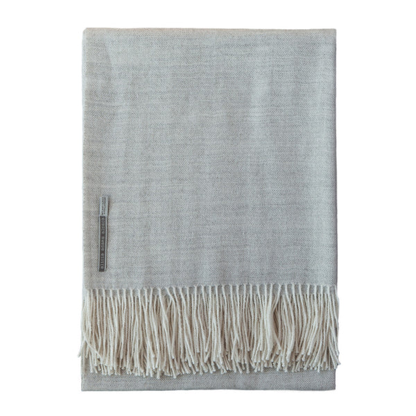 Pearl Grey Baby Alpaca Herringbone Throw