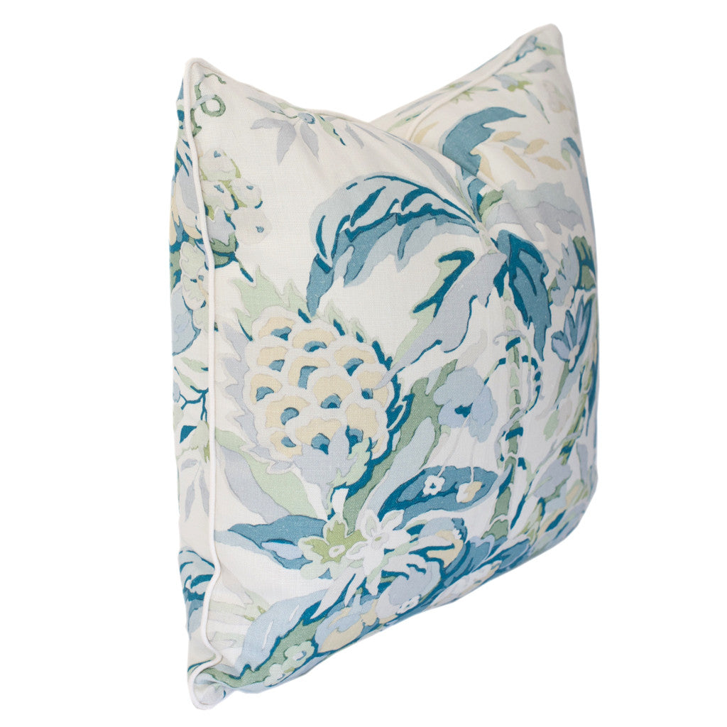 Aqua and Green Tropical Floral Pillow