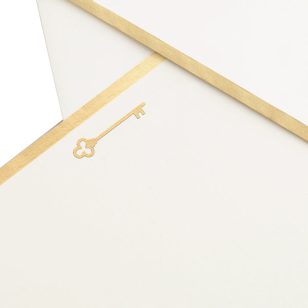Crane - Key and Lock Gold Foil Flat Cards