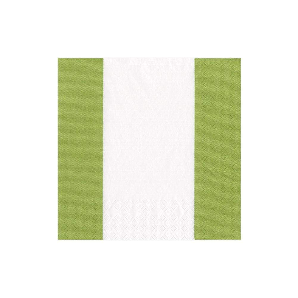 Bandol Stripe Moss Green, Cocktail Napkins