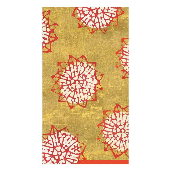 Block Print Stars Red/Gold Guest Towels