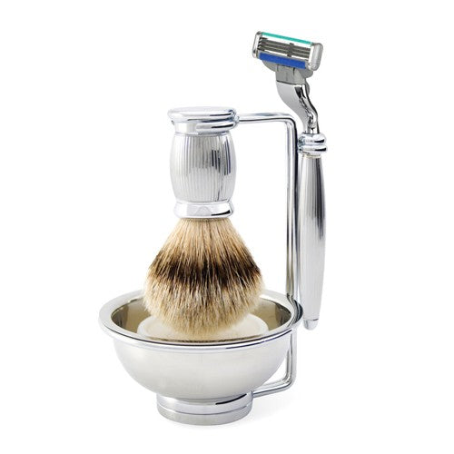 Edwin Jagger Bulbous Chrome 4 Piece Shaving Set