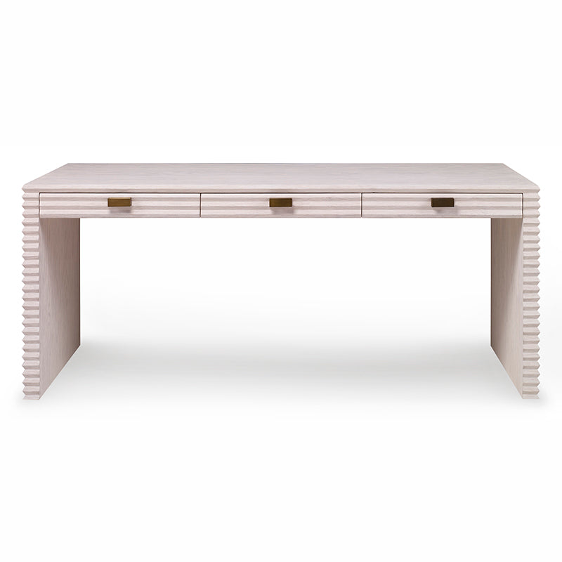 Belmont Large Desk in White Rustic Pine