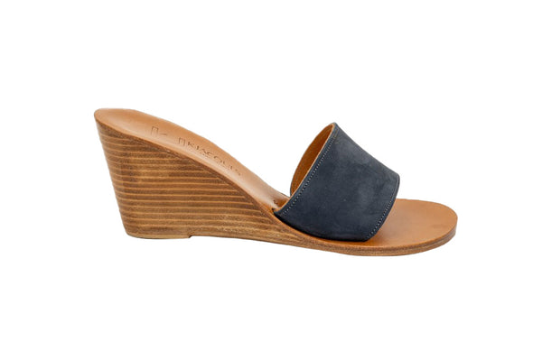 K Jacques Bianca Nubuck Mule with Stacked Wood Heel, Chine