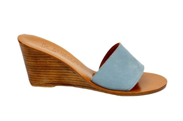 K Jacques Bianca Nubuck Mule with Stacked Wood Heel, Pale Blue