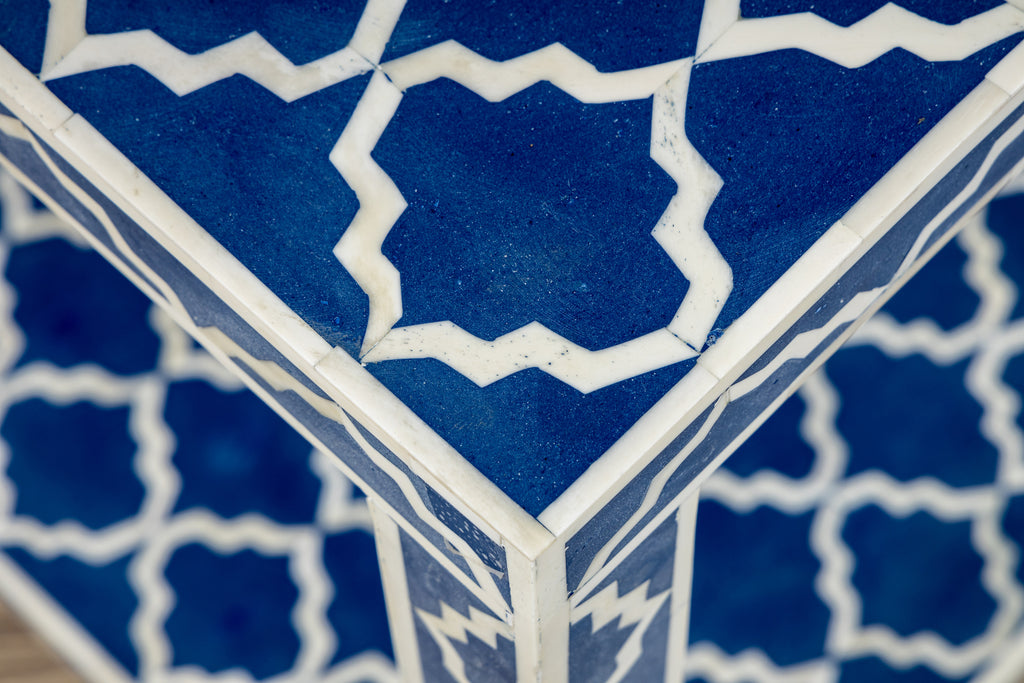 Blue Bone Inlay Side Table