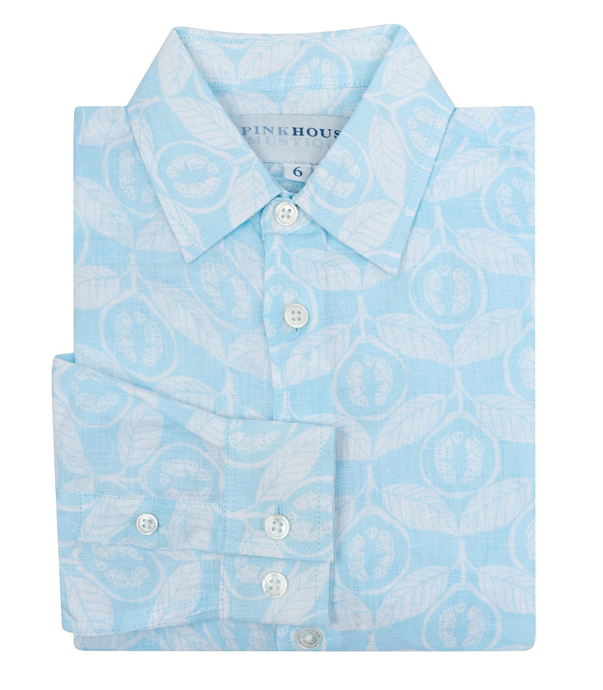 Pink House Mustique Boy's Guava Linen Shirt