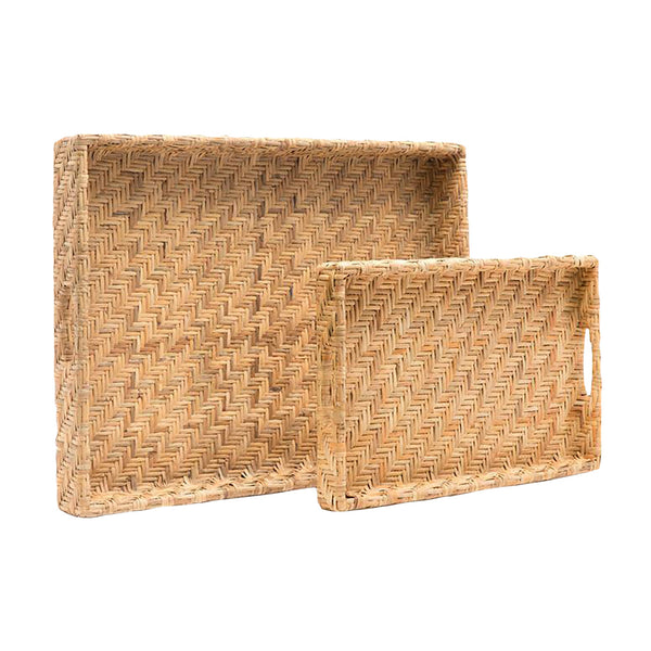 Cadie Natural Flat Rattan Tray, Small