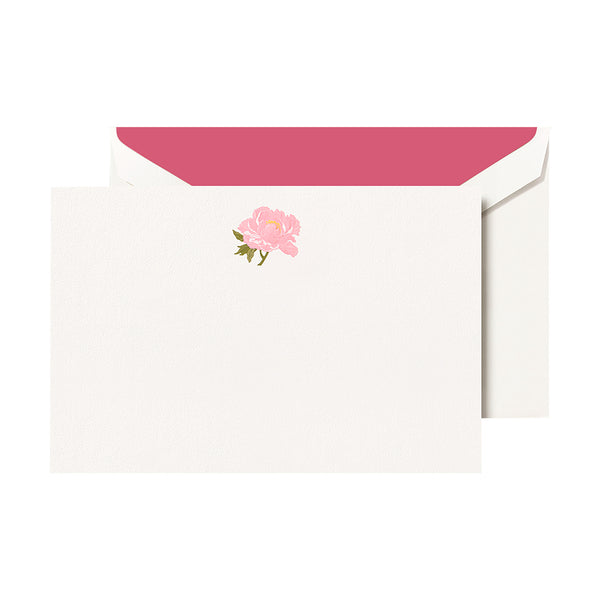 Crane - Peony Flat Card with Fuschia Lining, Set of 10