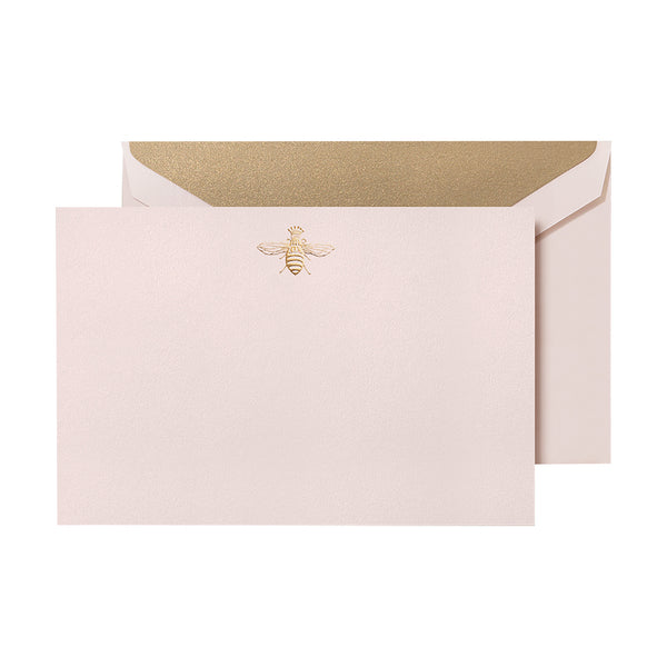 Crane - Gold Queen Bee Blush Flat Card with Gold Lining, Set of 10