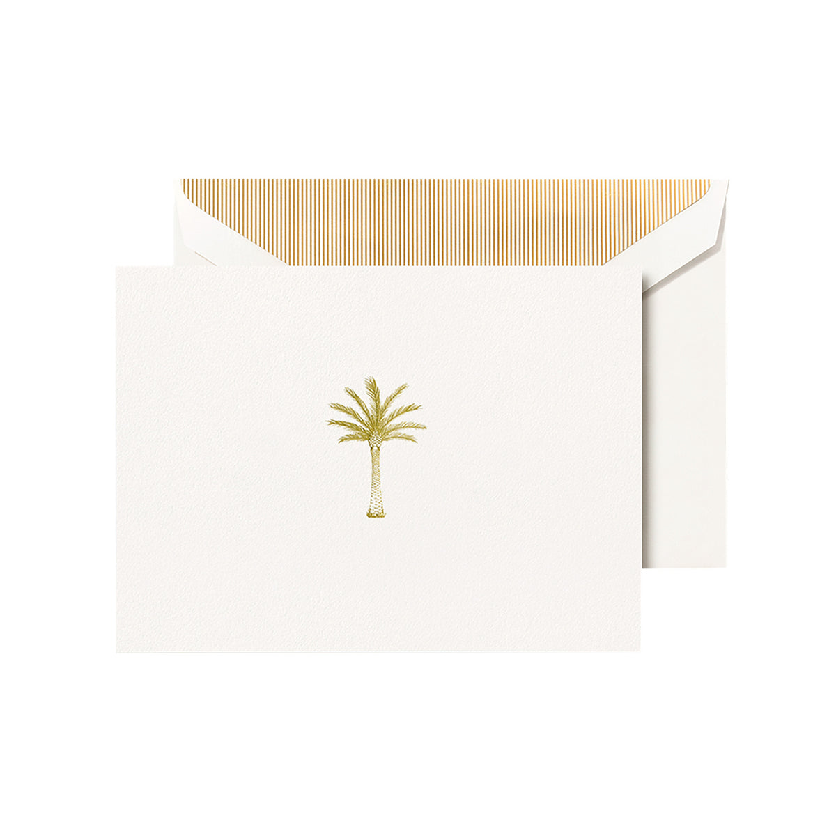 Crane - Palm Tree Classic Note with Gold Stripe Lining, Set of 10