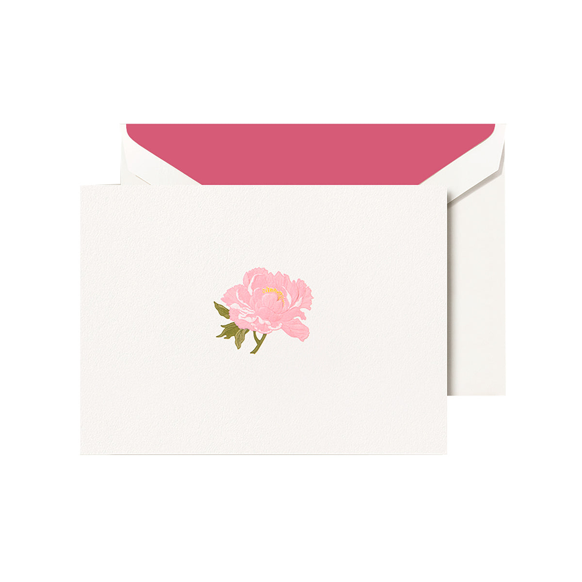 Crane - Peony Classic Note with Fuschia Lining, Set of 10