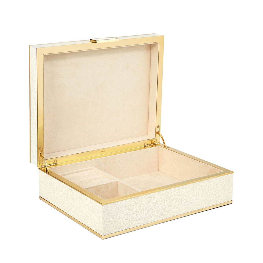 AERIN Cream Shagreen Jewelry Box, Large