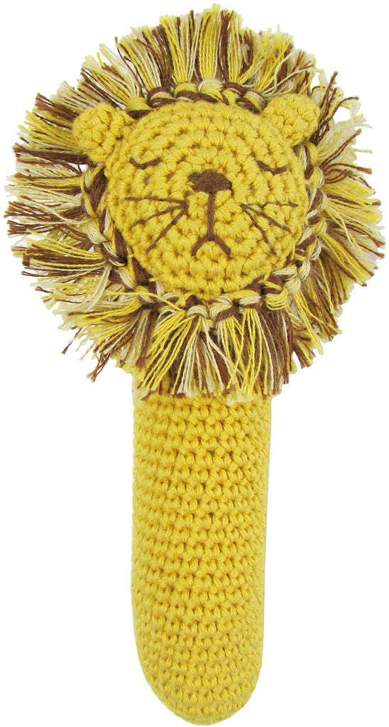 Albetta Crochet Lion Head Rattle Stick