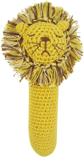 Crochet Lion Head Rattle Stick