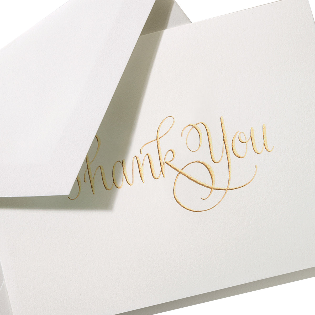 Crane - Gold Script Thank You Note, Engraved