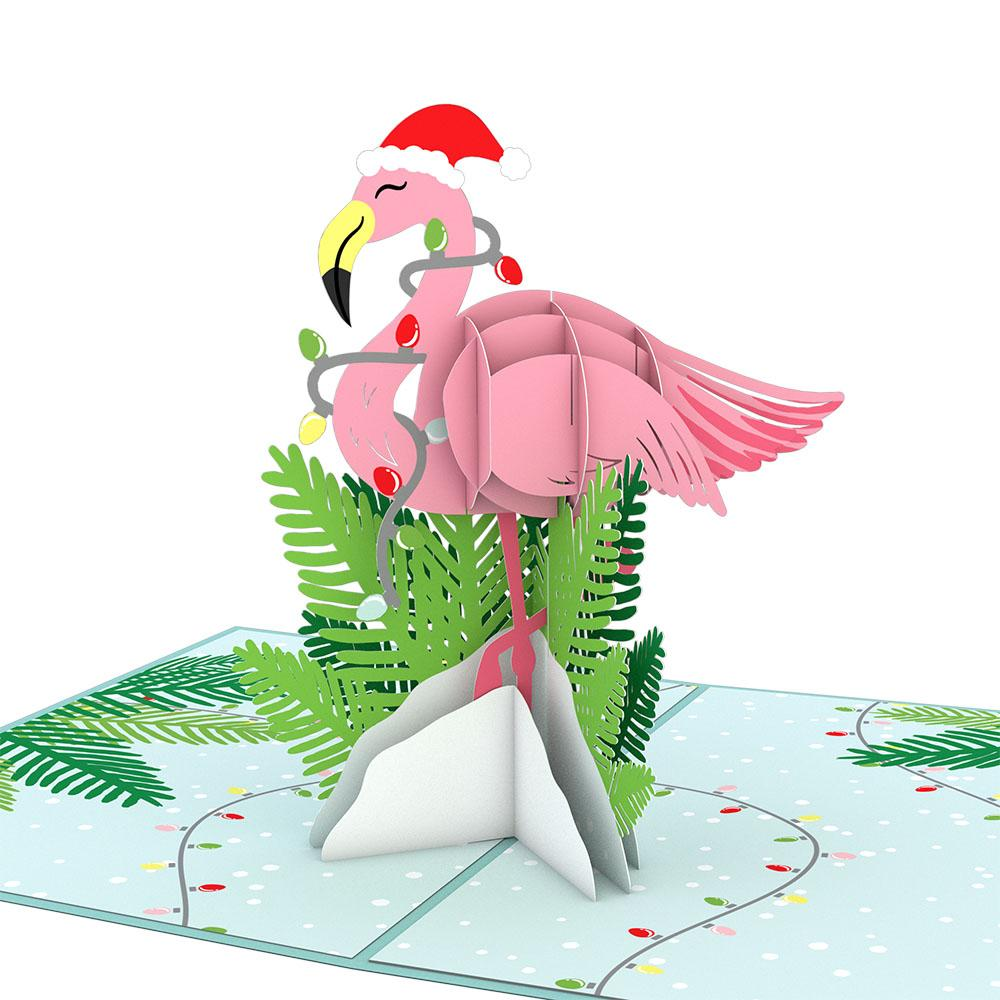 Pop Up Card, Christmas Flamingo