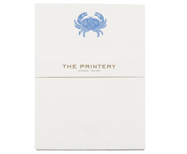 crab in blue notepad
