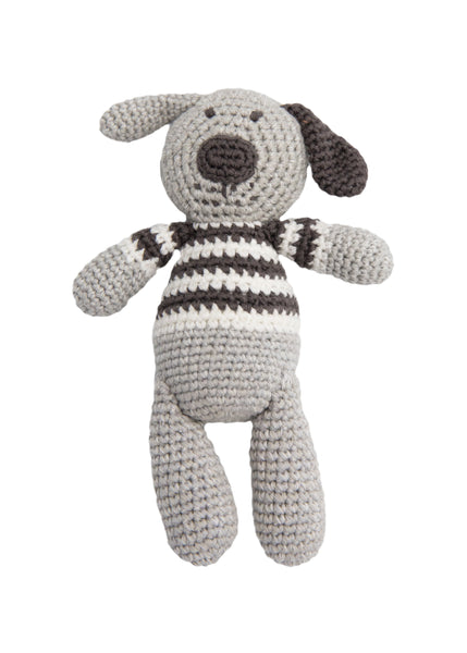 Albetta Crochet Spot Dog Rattle Toy