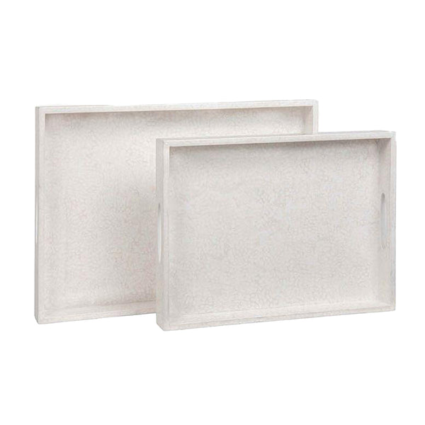 Della White Lacquered Eggshell Tray, Medium