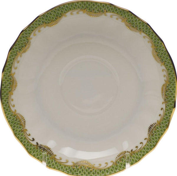 Herend Fish Scale Canton Tea Saucer, Evergreen 5.5""
