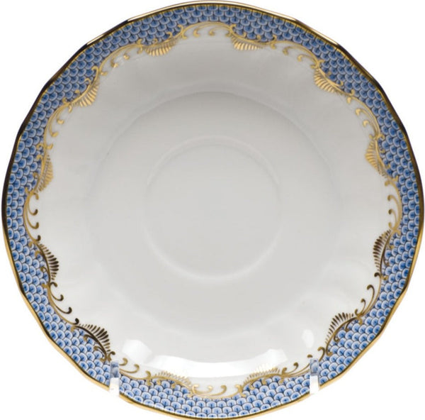 "Herend Fish Scale Canton Tea Saucer, Light Blue 5.5""D"