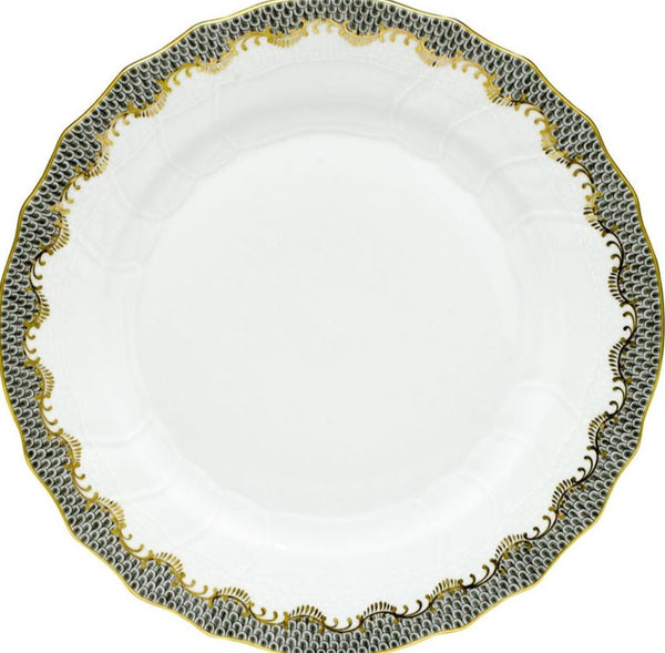 Herend Fish Scale Dinner Plate, Gray 10.5""
