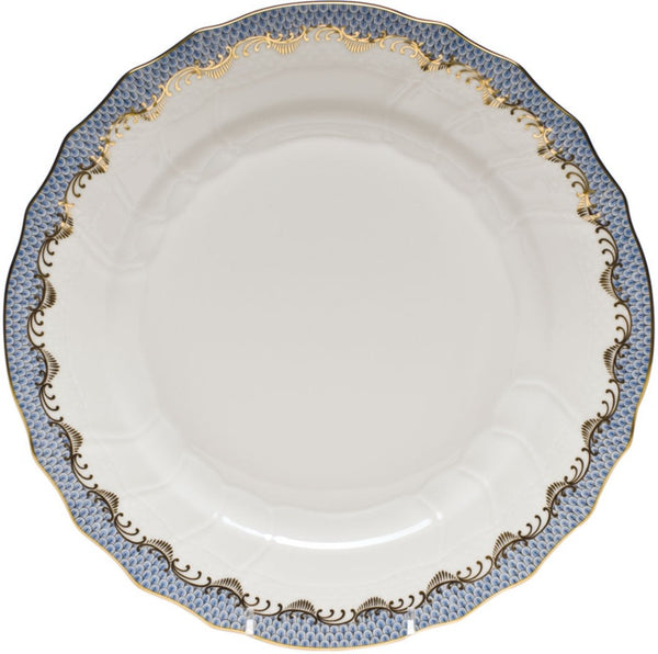"Herend Fish Scale Dinner Plate, Light Blue 10.5""D"