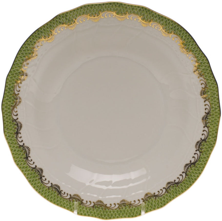 Herend Fish Scale Dessert Plate, Evergreen 8.25""