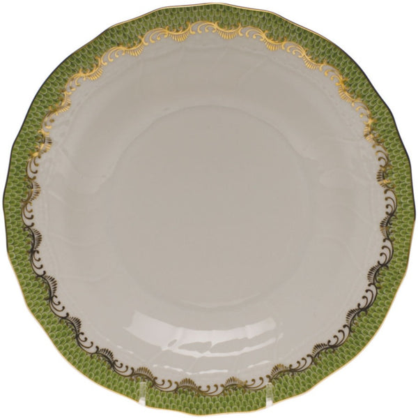 "Herend Fish Scale Dessert Plate, Evergreen 8.25""D"