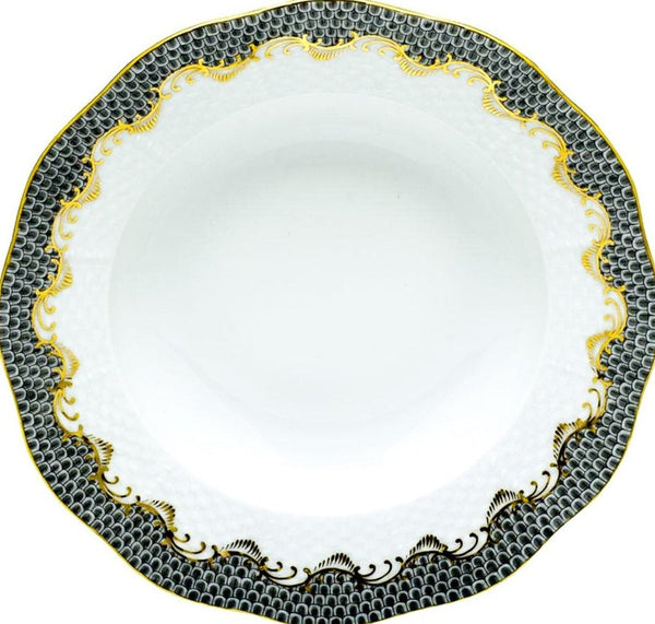 Herend Fish Scale Dessert Plate, Gray 8.25""