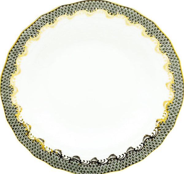 Herend Fish Scale Rim Soup Plate, Gray 8""