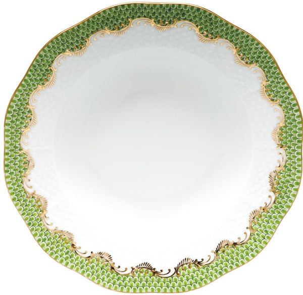 "Herend Fish Scale Rim Soup Plate, Evergreen 8""D"