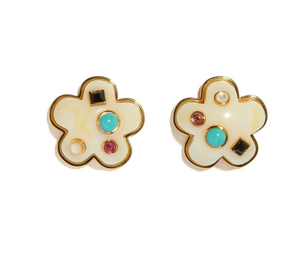 Lizzie Fortunato Daisy Stud Earrings in Cream