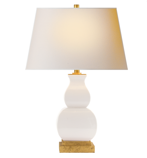 Fang Gourd Table Lamp, Ivory Crackle