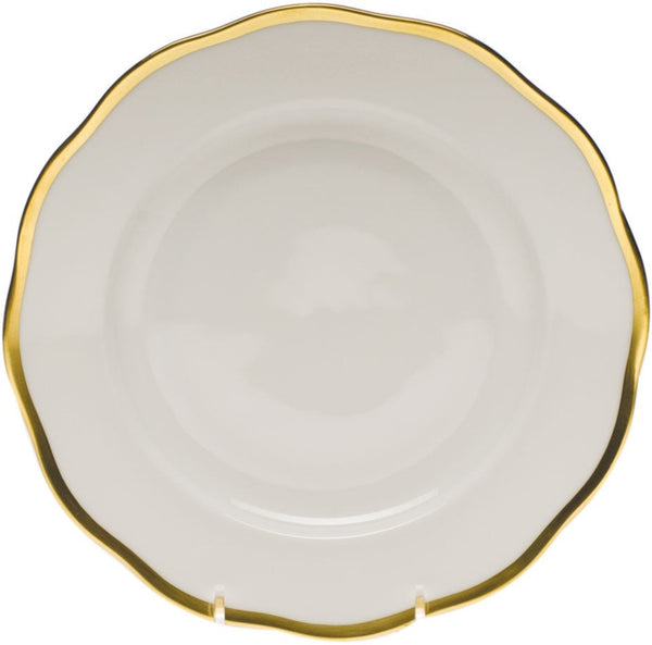 "Herend Gwendolyn Dessert Plate, White/Gold 8.25""D"