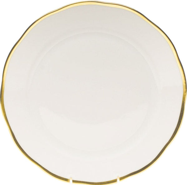 Herend Gwendolyn Dinner Plate, White/Gold 10.5""