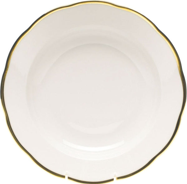 Herend Gwendolyn Rim Soup, White/Gold 9.75""