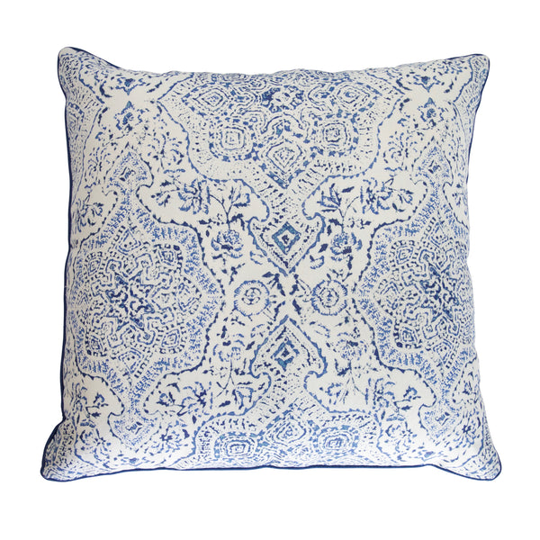 Blue & White Batik Medallion Pillow
