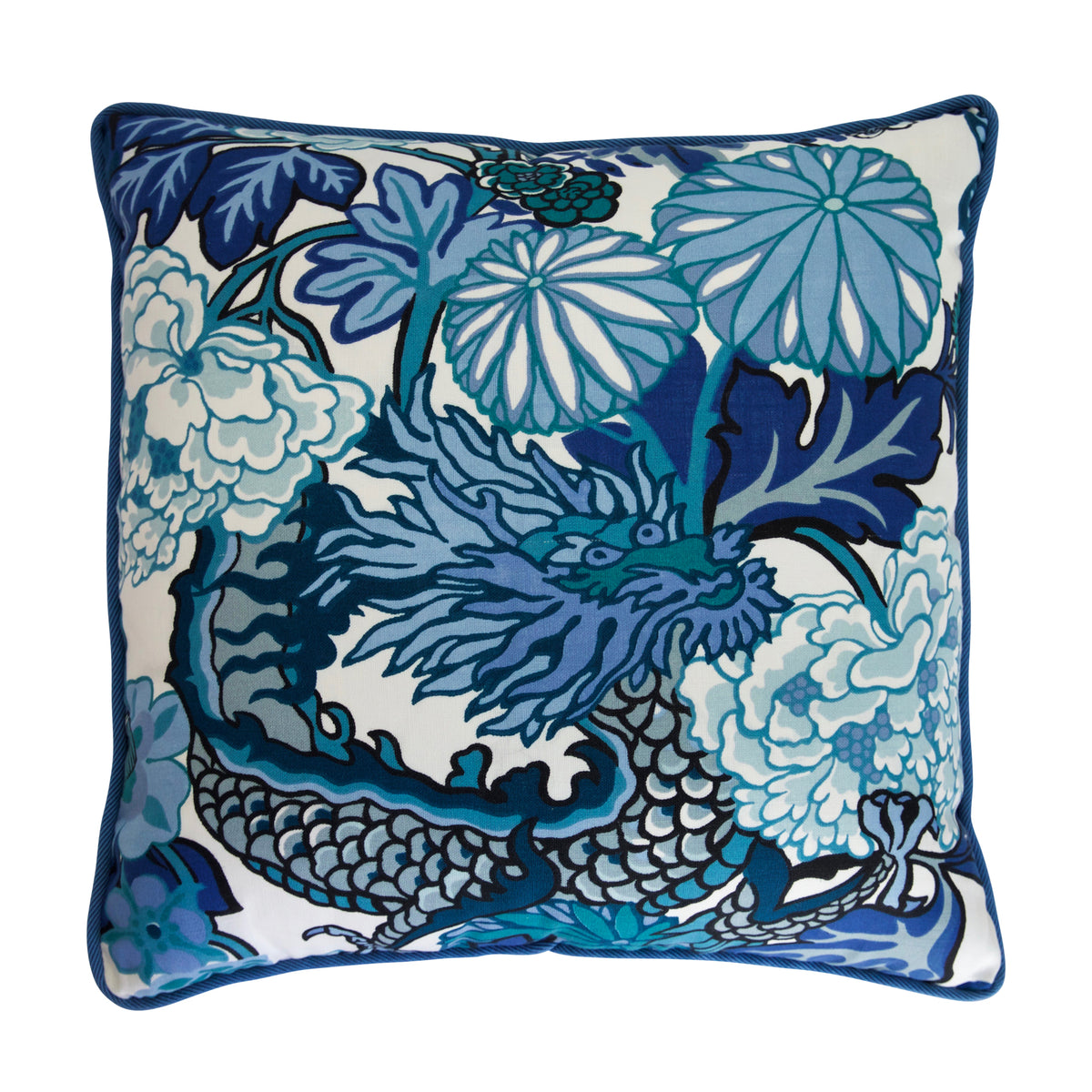 Floral Dragon China Blue Pillow