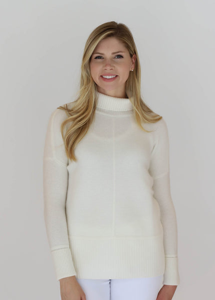 HIVE Cashmere Turtleneck Pullover with Cuffed Sleeves