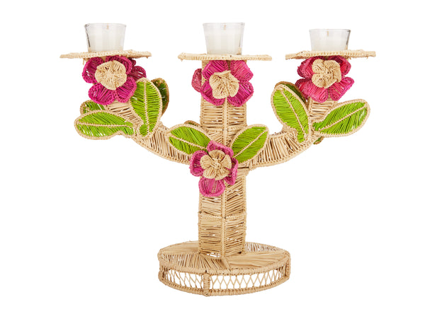 Raffia Rose Candlestick Holder, Large