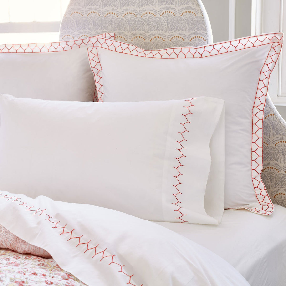 John Robshaw Stitched Pillowcase Pair Coral