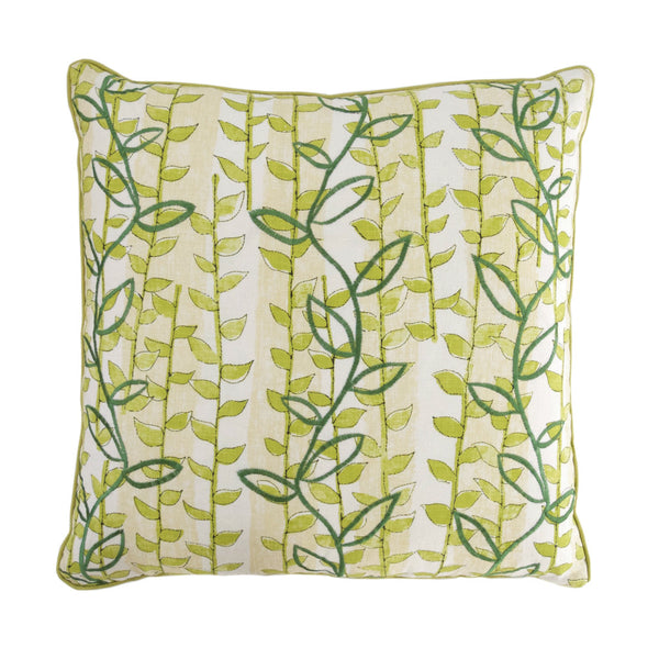 Green and Ivory Leaf Pillow