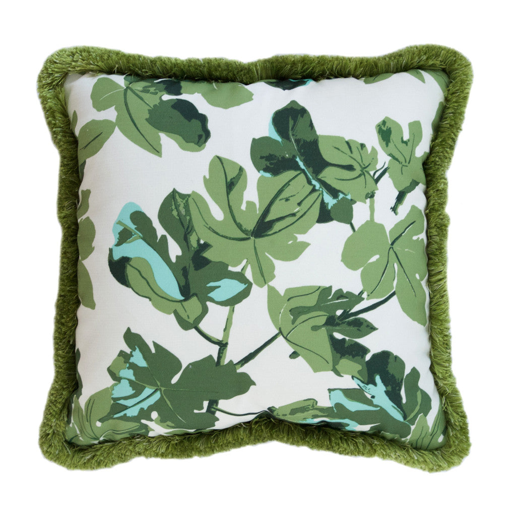 Indoor-Outdoor Green Floral Pillow
