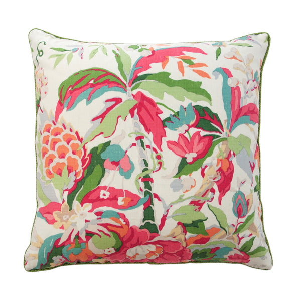 Pink and Green Tropical Floral Pillow